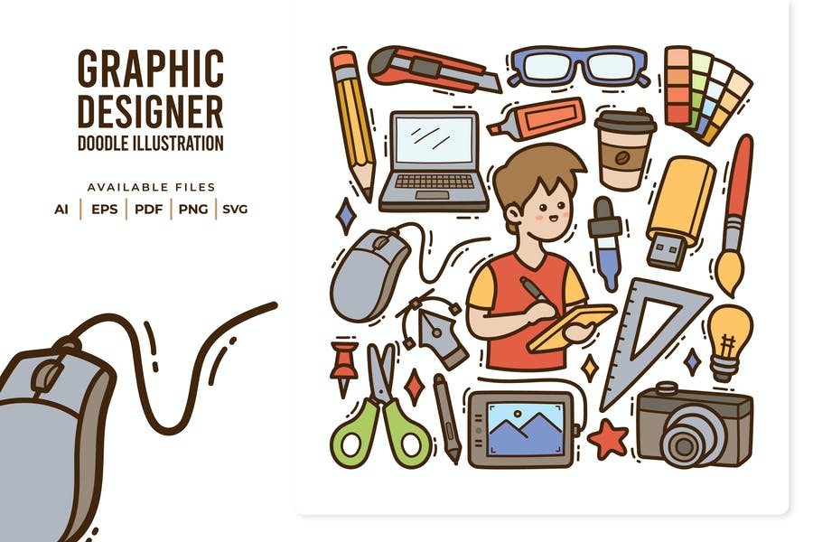 Graphic Designer Doodle Illustration