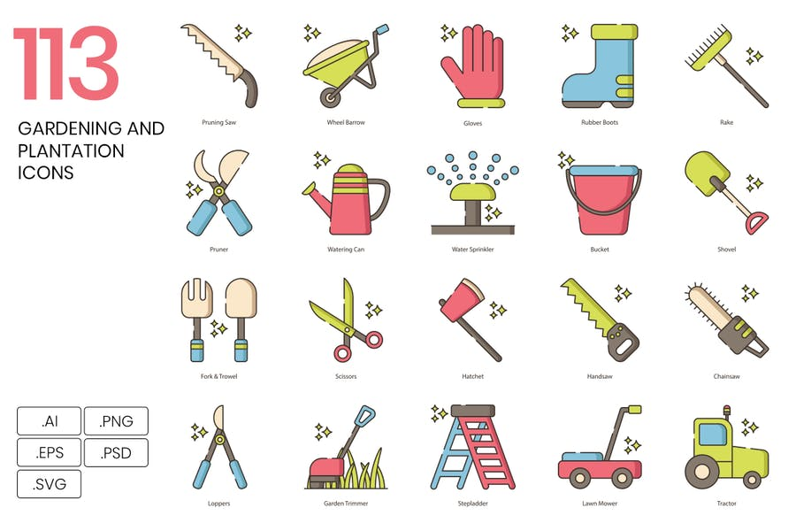 113 Gardening and Plantation Line Icons