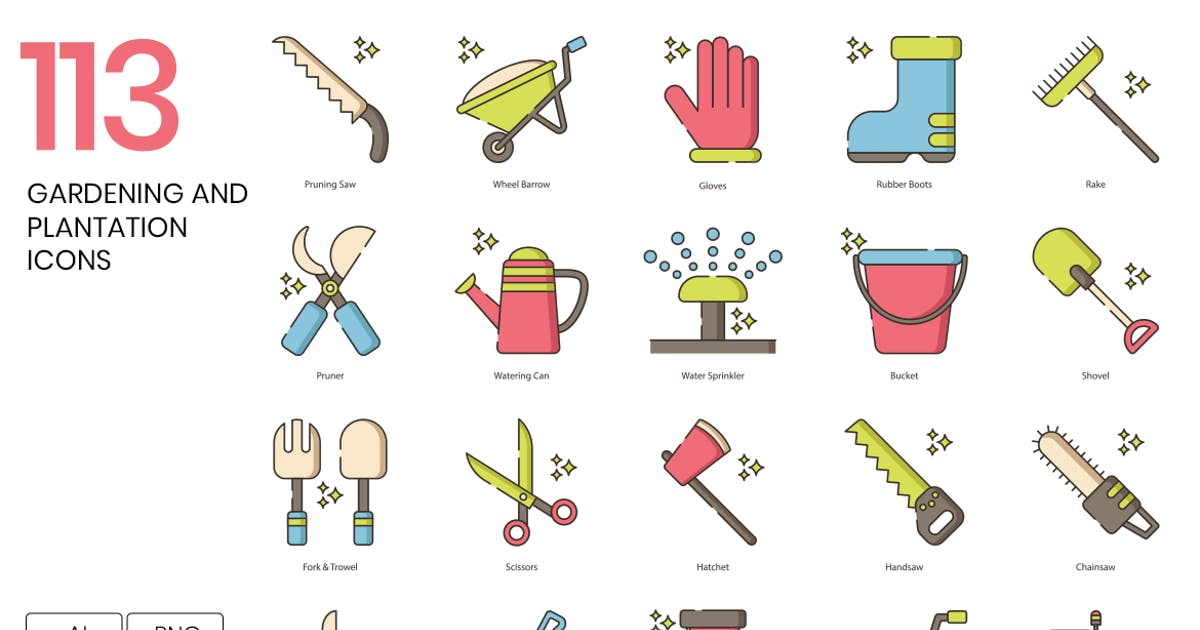 Download 113 Gardening and Plantation Line Icons by Krafted