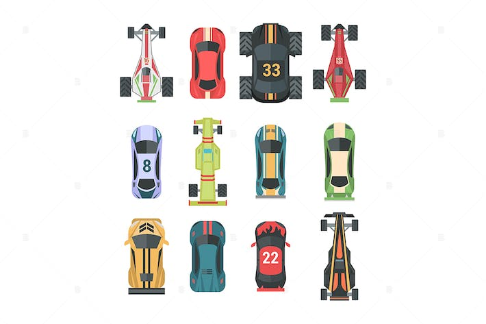 Thumbnail for Sport and racing cars - set of vector elements