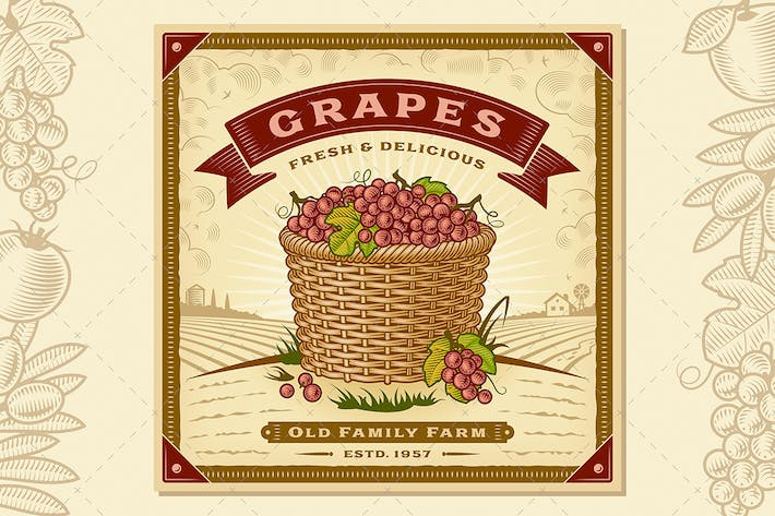 Thumbnail for Retro Grapes Harvest Label With Landscape