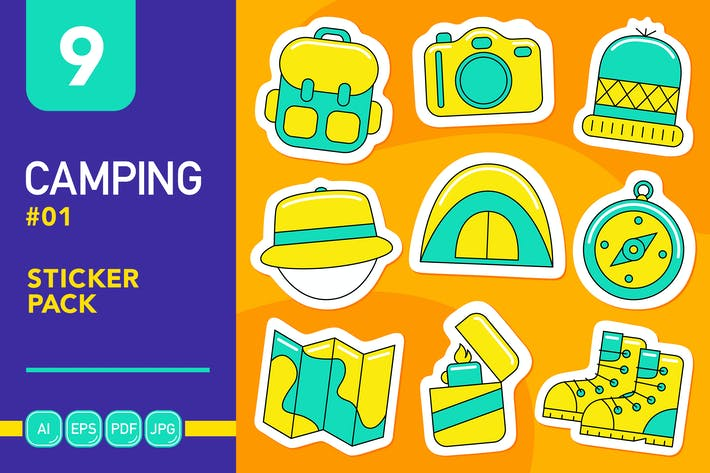 Pack d'autocollants Camping #01