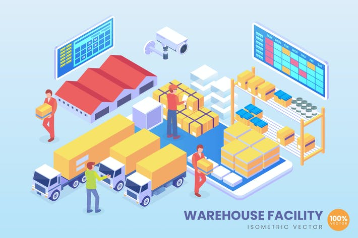 Thumbnail for Isometric Warehouse Facility Technology Vector
