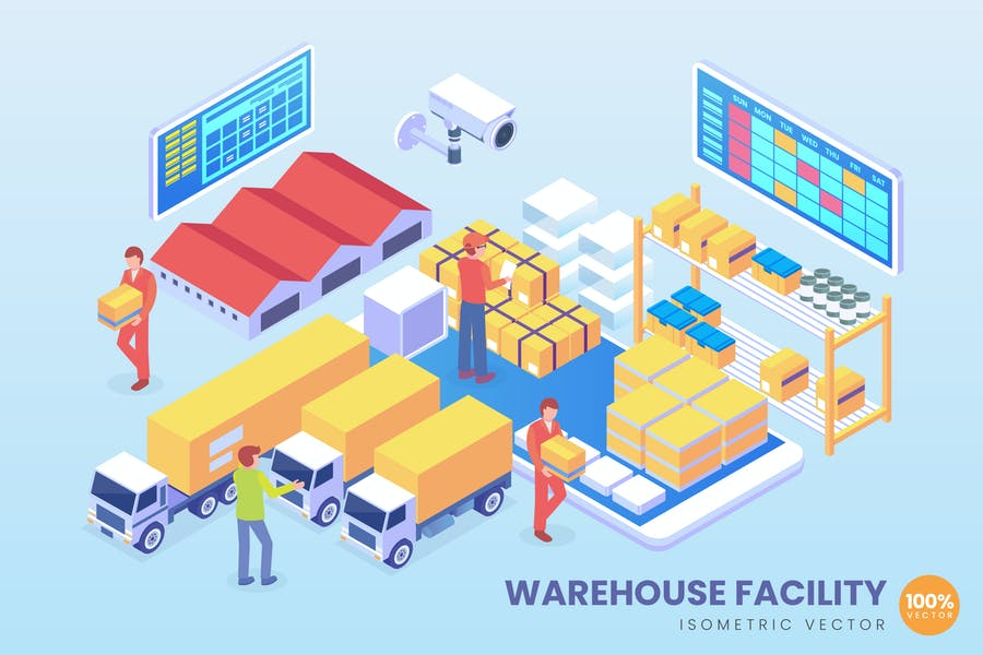 Isometric Warehouse Facility Technology Vector