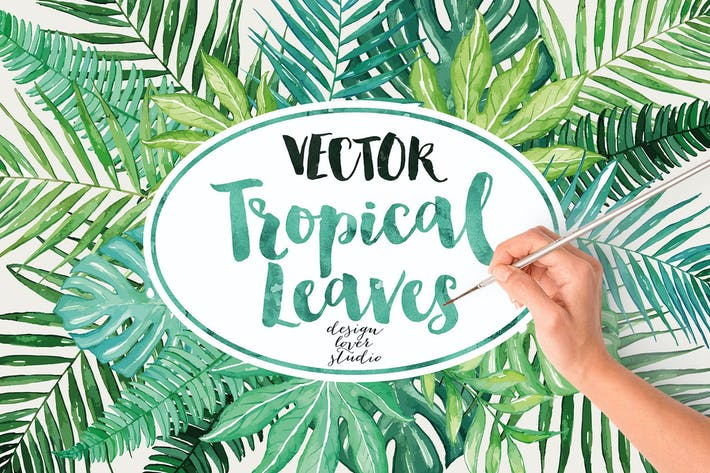 Thumbnail for Vector watercolor tropical leaves