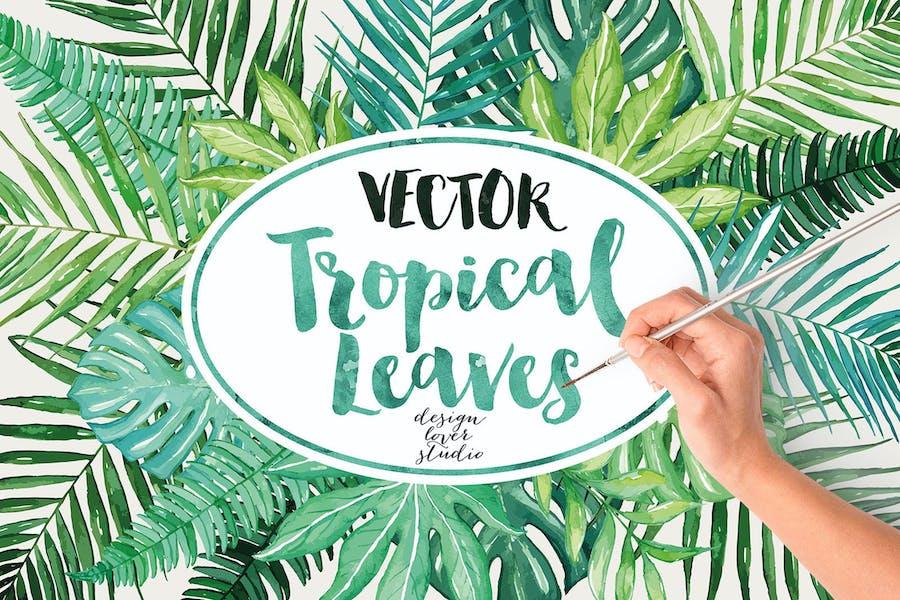 Vector watercolor tropical leaves