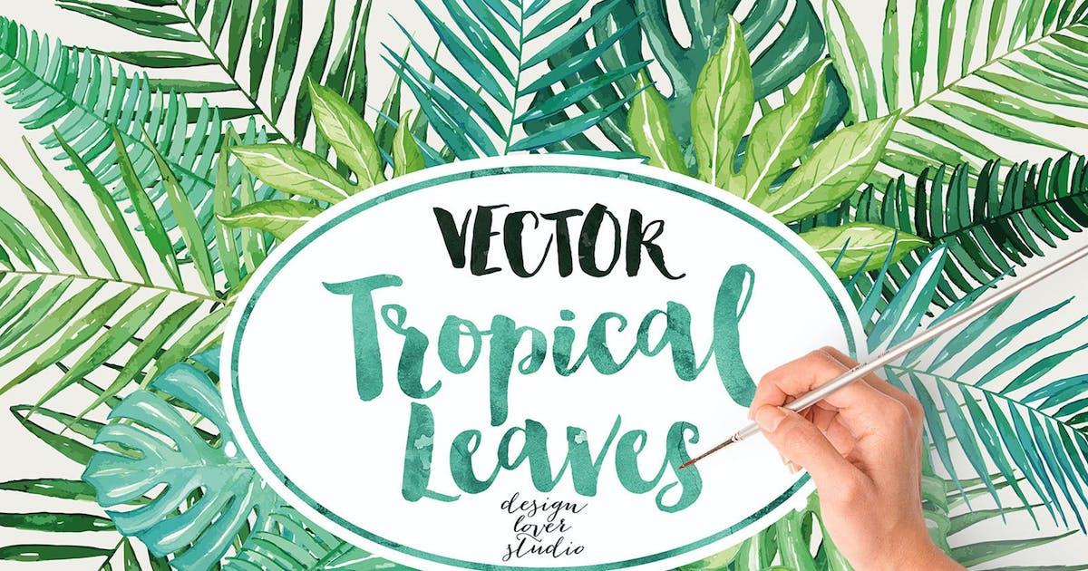 Vector watercolor tropical leaves by designloverstudio