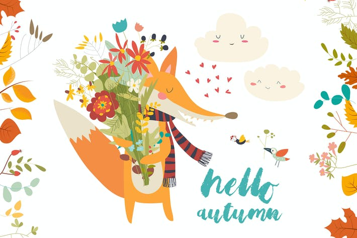 Thumbnail for Lovely autumn card with a fox and flowers. Vector