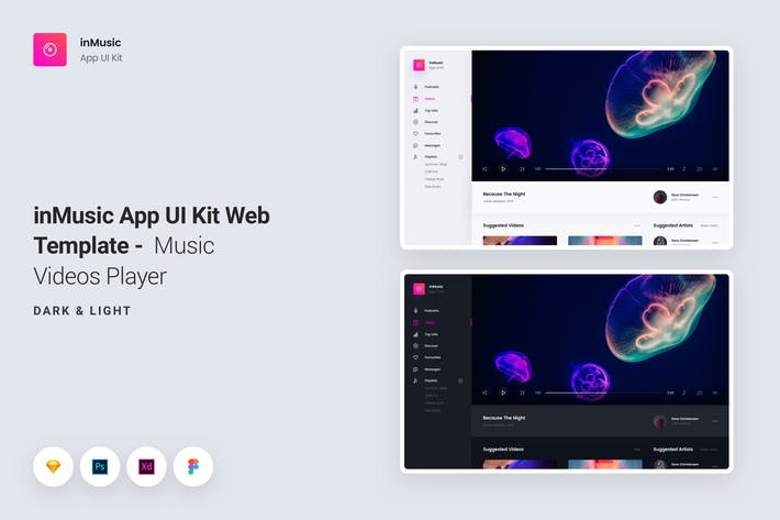 inMusic App UI Kit Web Template - Video Player by panoplystore on