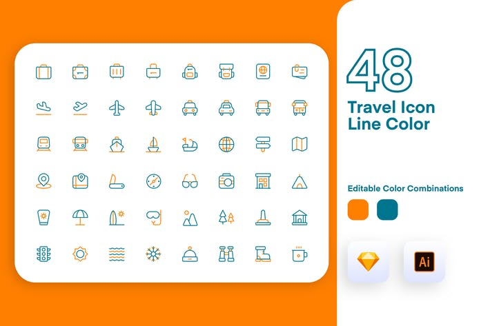 Thumbnail for Travel Icon Line Color