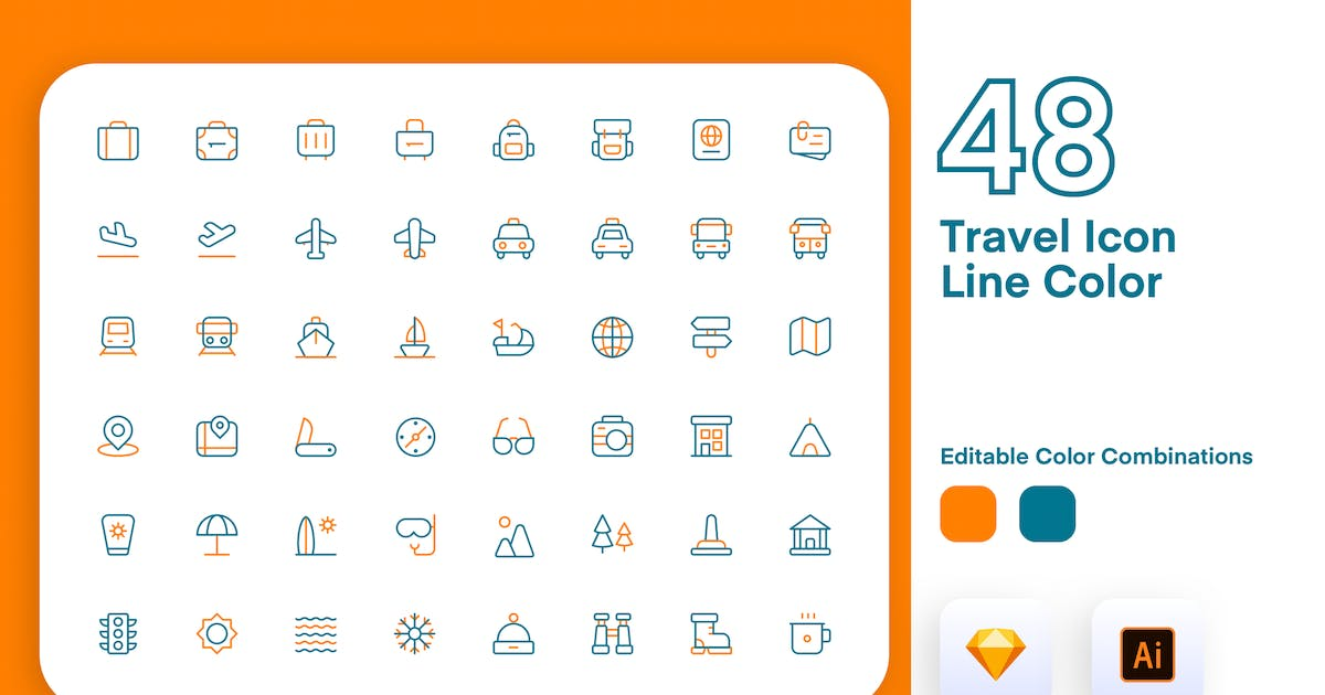 Download Travel Icon Line Color by usedesignspace