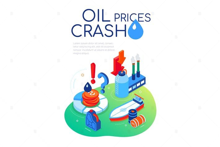 Thumbnail for Oil prices crash - colorful isometric web banner