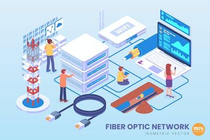 Isometric Fiber Optic Network Vector Concept