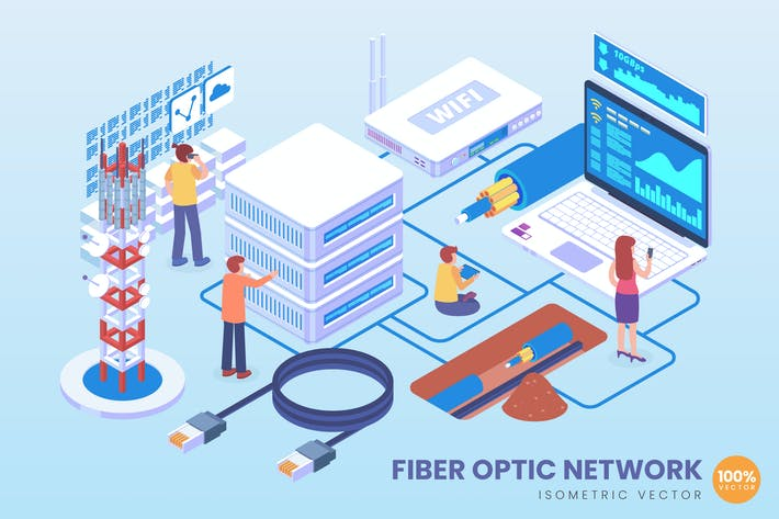 Thumbnail for Isometric Fiber Optic Network Vector Concept
