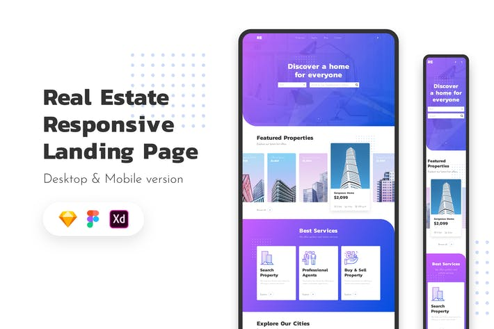 Thumbnail for Real Estate Responsive Landing Page