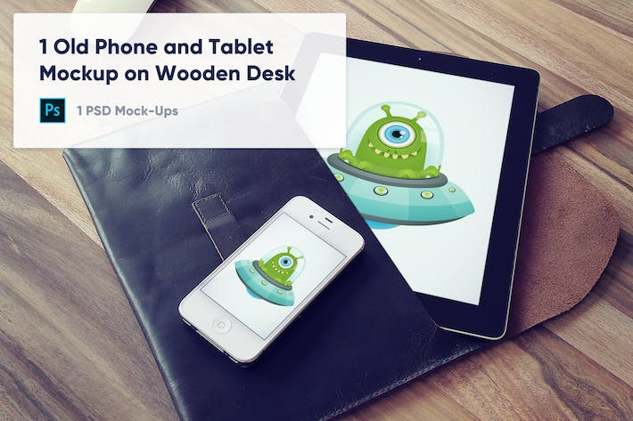 Thumbnail for 1 Old Phone and Tablet Mockup on Wooden Desk