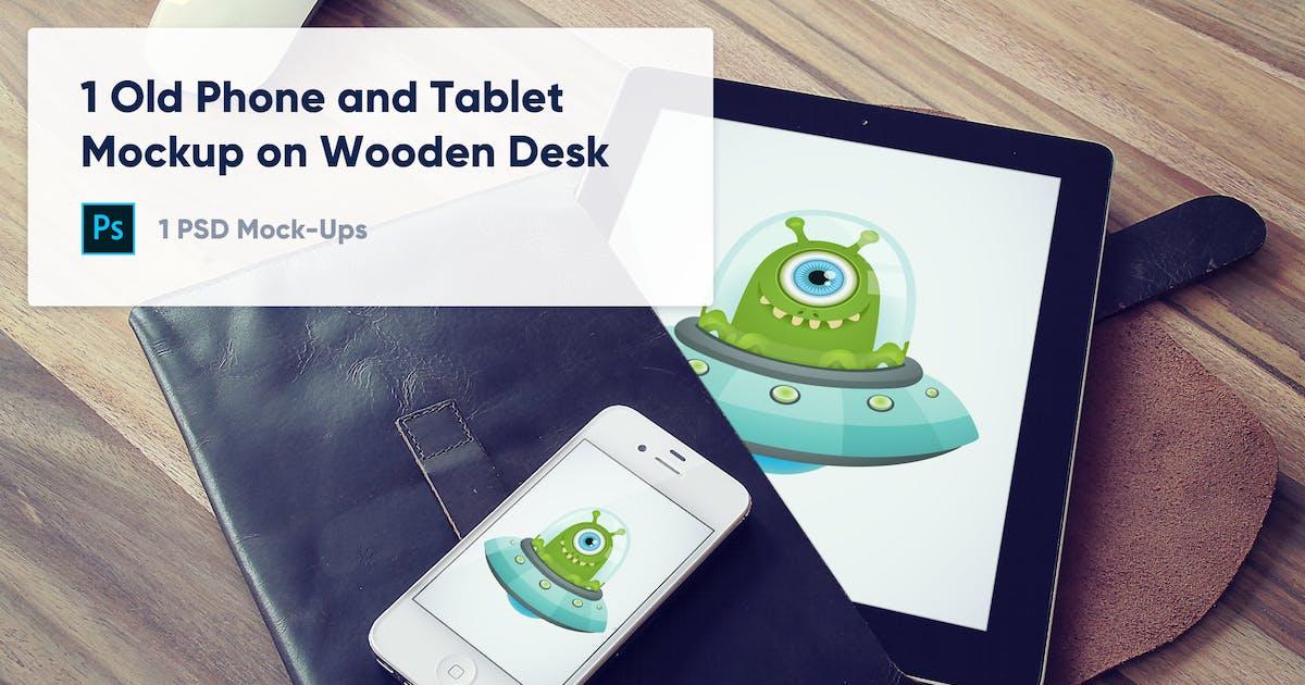Download 1 Old Phone and Tablet Mockup on Wooden Desk by maroskadlec