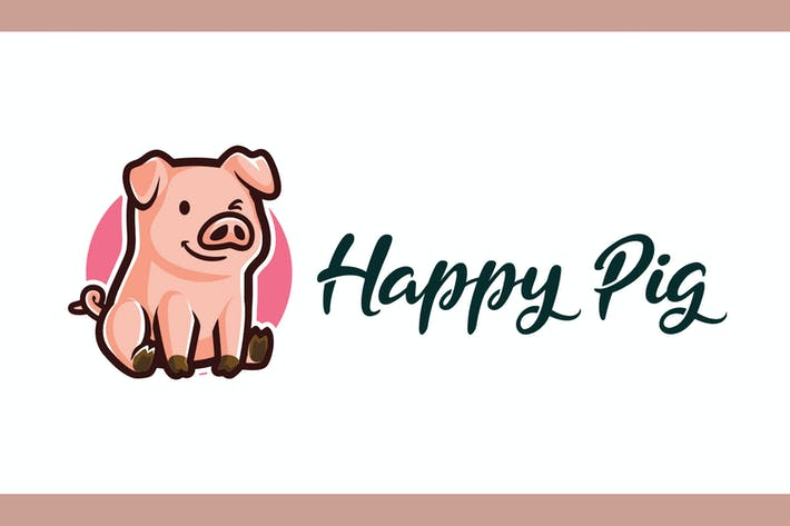 Thumbnail for Cartoon Happy Pig Mascot Logo