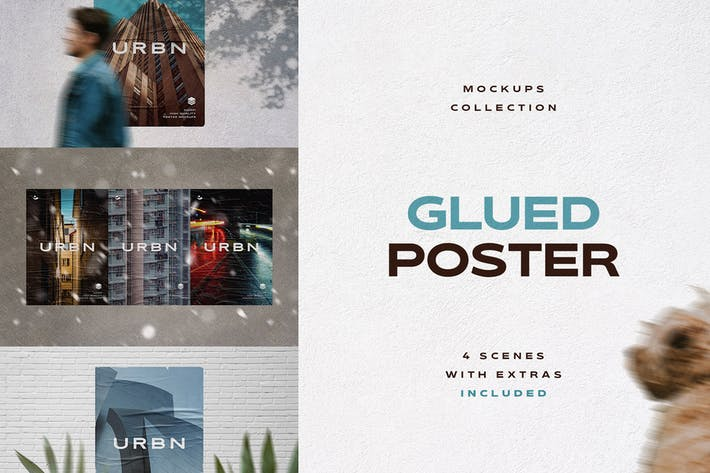 Cover Image For Glued Poster Mockups