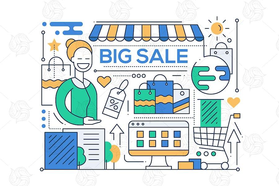 Big Sale - Linie Design Komposition