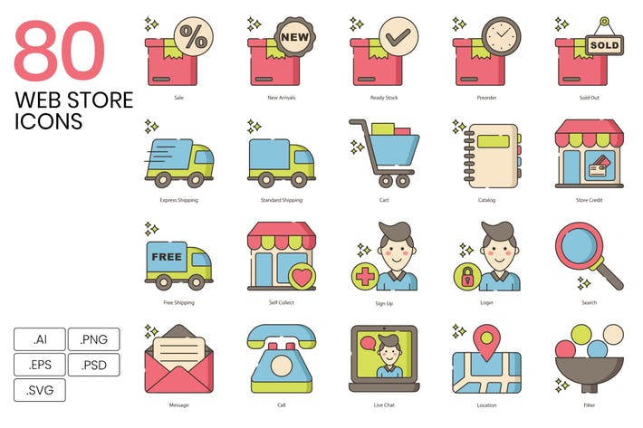 Thumbnail for 80 Web Store Line Icons