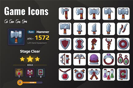 25 Iconset War Equipment for Games