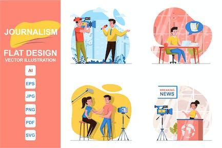 Illustrations Journalism Flat Design Concept
