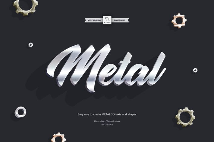 Thumbnail for 3D Metal - Photoshop Action