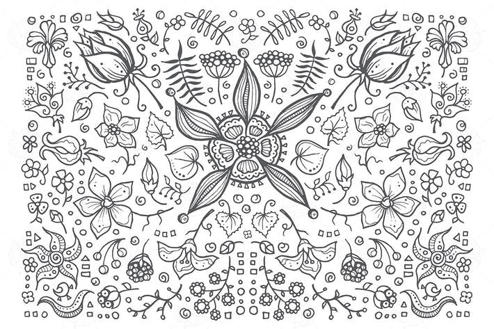 Thumbnail for Floral elements - hand drawn vintage illustration