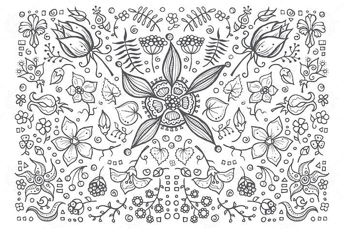 Cover Image For Floral elements - hand drawn vintage illustration