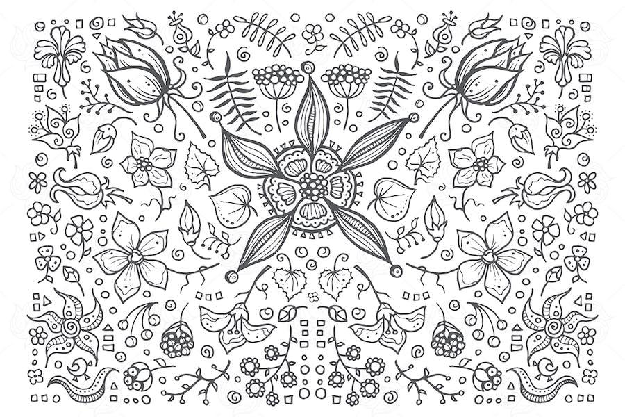Floral elements - hand drawn vintage illustration