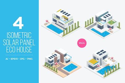 Isometric Solar Panel Eco House Vector Set 4