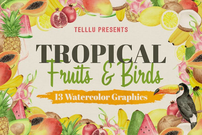Thumbnail for Watercolor Tropical Collection 2: Fruits & Birds
