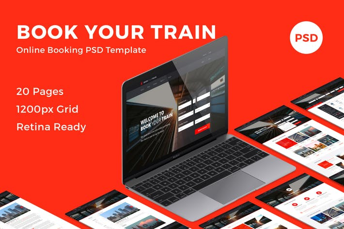 Thumbnail for Book Your Train - Online Booking PSD Template