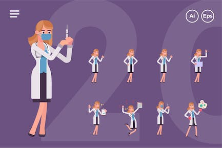 Female Doctor Character Set (20 Poses)