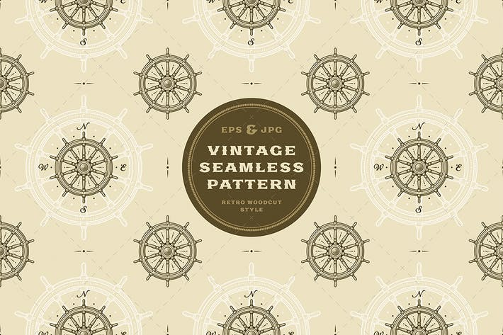 Thumbnail for Seamless vintage ship wheel pattern