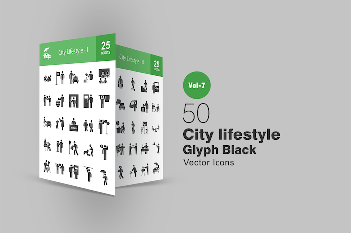 Thumbnail for 50 City Lifestyle Glyph Icons