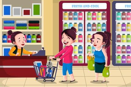 Supermarket - Vector Illustration