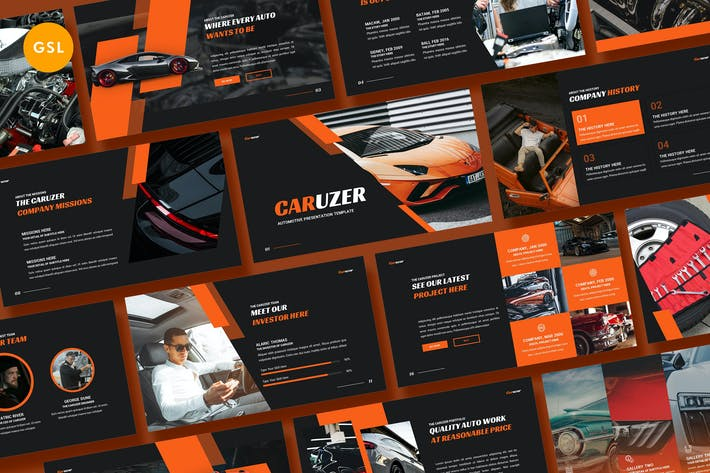 Thumbnail for Caruzer Automotive Google Slides Template