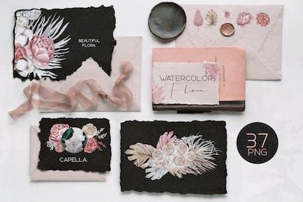 Contemporary watercolor floral set