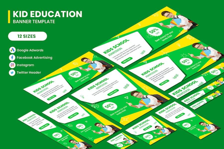 Kids Education Google Adwords Banner Template