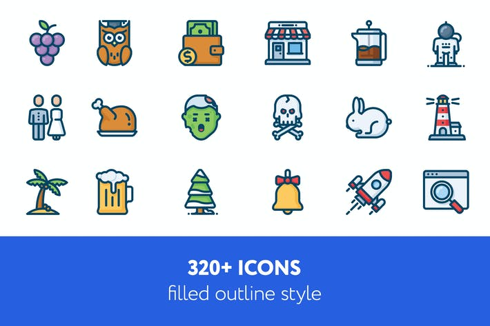 Thumbnail for 320 + icons filled outline style