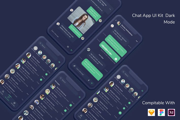 Thumbnail for Chat App UI Kit Dark Mode