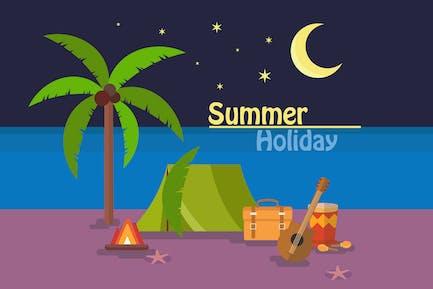 Vacaciones de verano - Fondo de ilustración