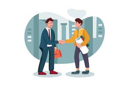 Customer handshaking with marketing agent