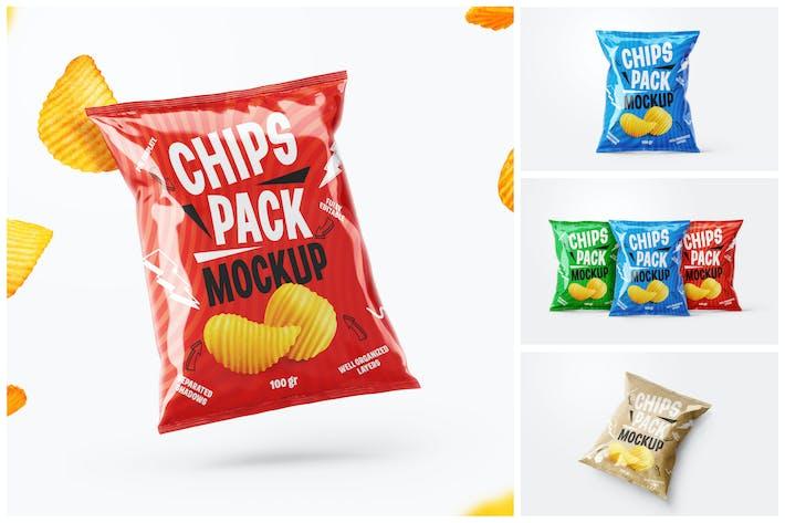Potato Chips Package Mockup Set