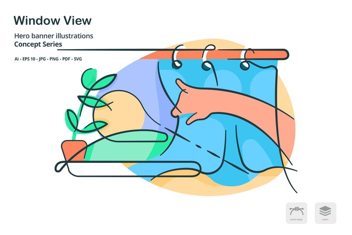 Thumbnail for Window View Home Vector Illustration