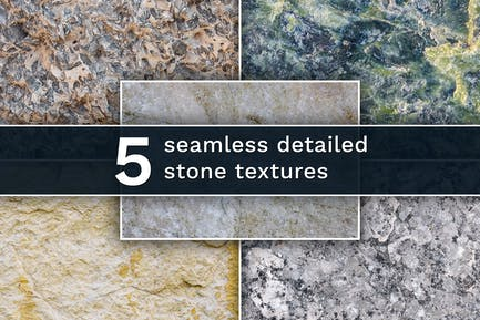 Set of 5 different seamless stone textures