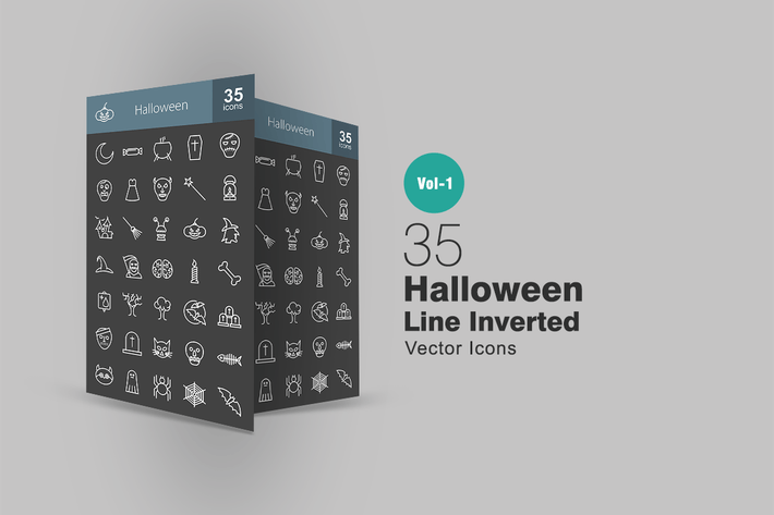 Thumbnail for 35 Halloween Line Inverted Icons