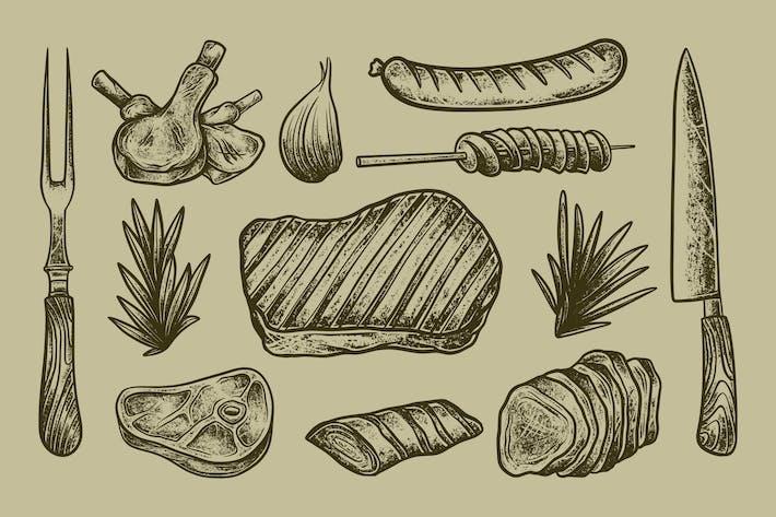 Handgezeichnetes Rindfleisch-Barbecue-Vektor